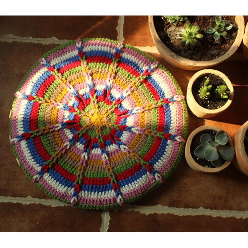 Original Handmade Crochet Sofa Seat Cushion Diy Round Garden Chairs