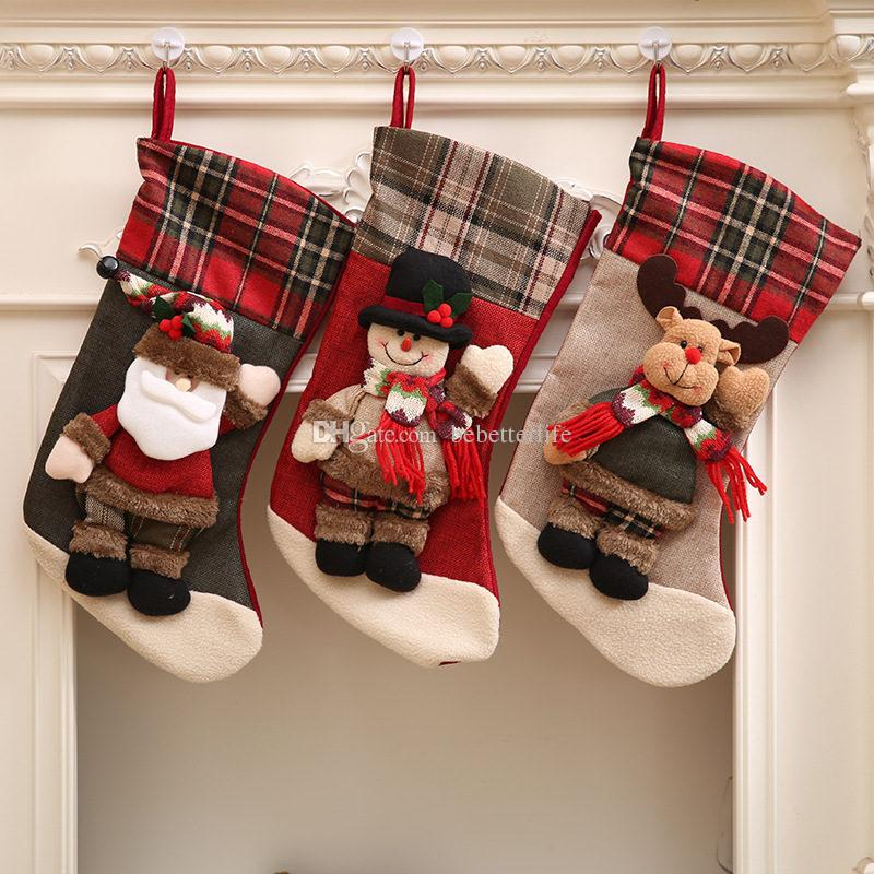 2018 new linen large plaid christmas stockings three dimensional scarf doll gift bag christmas decoration with childrens gift bags from bebetterlife - Plaid Christmas Stockings