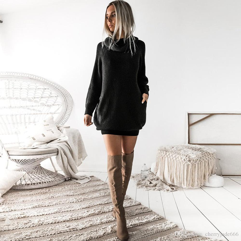 2018 Spring and Autumn Europe and the United States large-size long-sleeved fashion solid color pit high collar pullover pocket dress