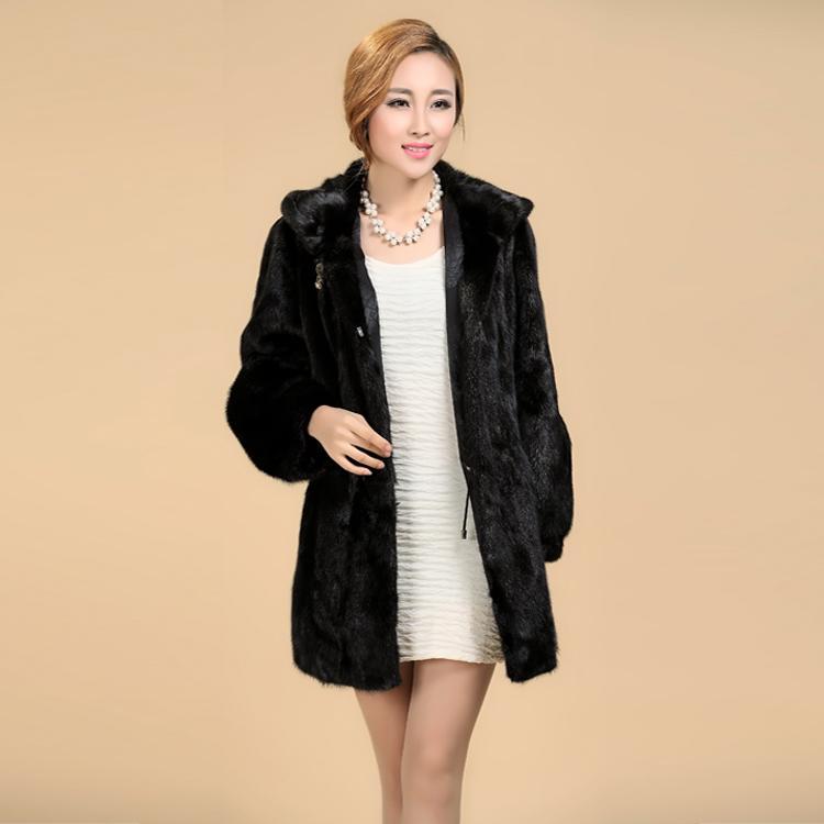 Новый 2018 женщин плюс размер Женская одежда 5XL 4XL мода средний длинные роскошные поддельные норки пальто черный белый искусственного меха пальто