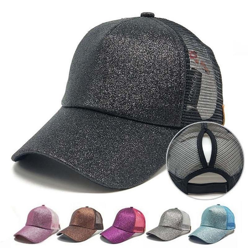 2018 New Running Cap Ladies Men S Bling Sequins Snapback Hat Summer Messy  Hair Mesh Eye Cap Adjustable Sports UK 2019 From Charlia 23492805e7a