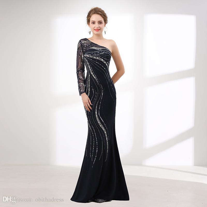 2018 New Shouldero Long Sleeved Mermaid Formal Evening Dresses