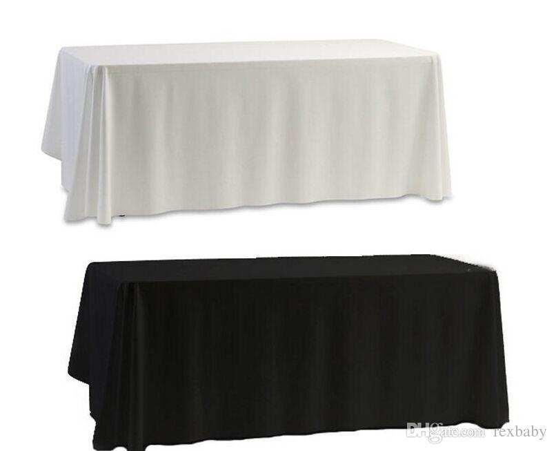 En gros blanc noir table nappe couverture de table pour banquet décor de fête de mariage 145x145cm