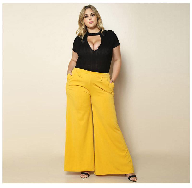 Hot New Stylish Women Lady Wide Leg Pants Elegant Ladies High Solid Waist Pants Wide Leg Loose Trousers Pants & Capris Bottoms
