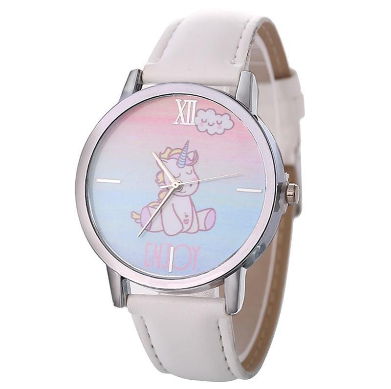 79b0eac0783 Compre Mulheres Meninas Relógios Causal Animal Bonito Unicórnio Impressão  Pulseira De Couro PU Liga Analógica Relógio De Quartzo Relógio Relogio  Feminino De ...