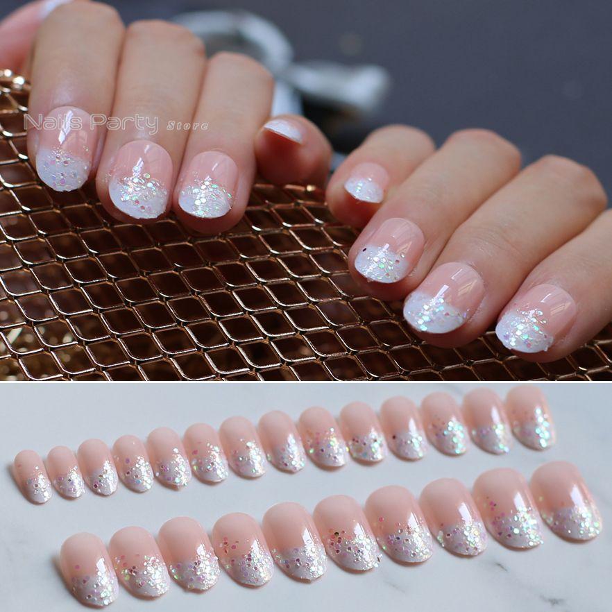 Grosshandel Rosa Nackte Ovale Gefalschte Nagel French Glitter Falsche