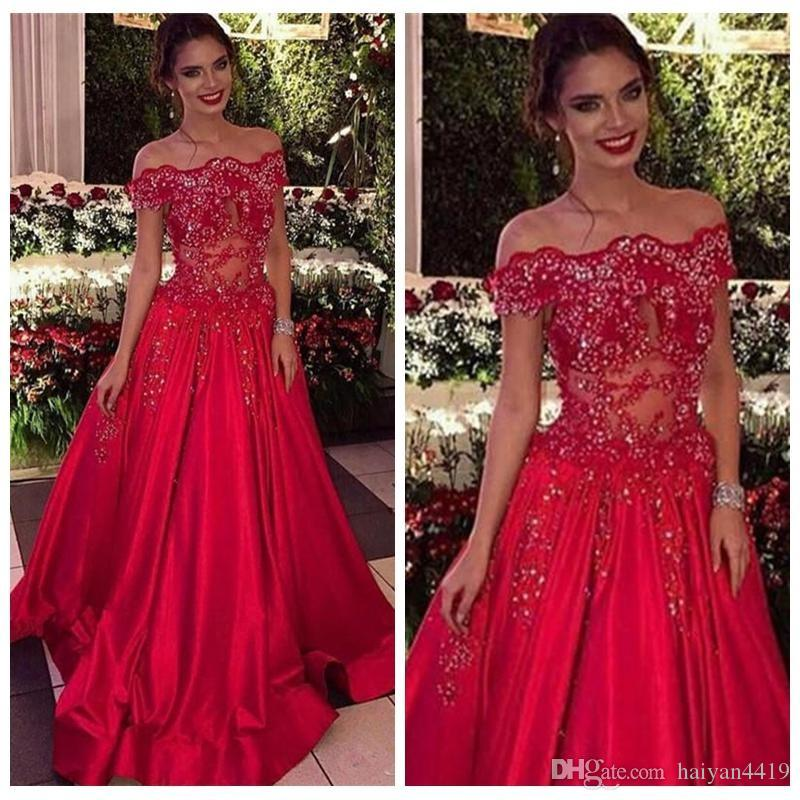 233e9e523dc 2018 Red Prom Dresses Bateau Neck Illusion Keyhole Lace Applique Beaded  Crystal Off Shoulder Satin Formal Special Party Wear Evening Gowns Prom  Dress Shops ...