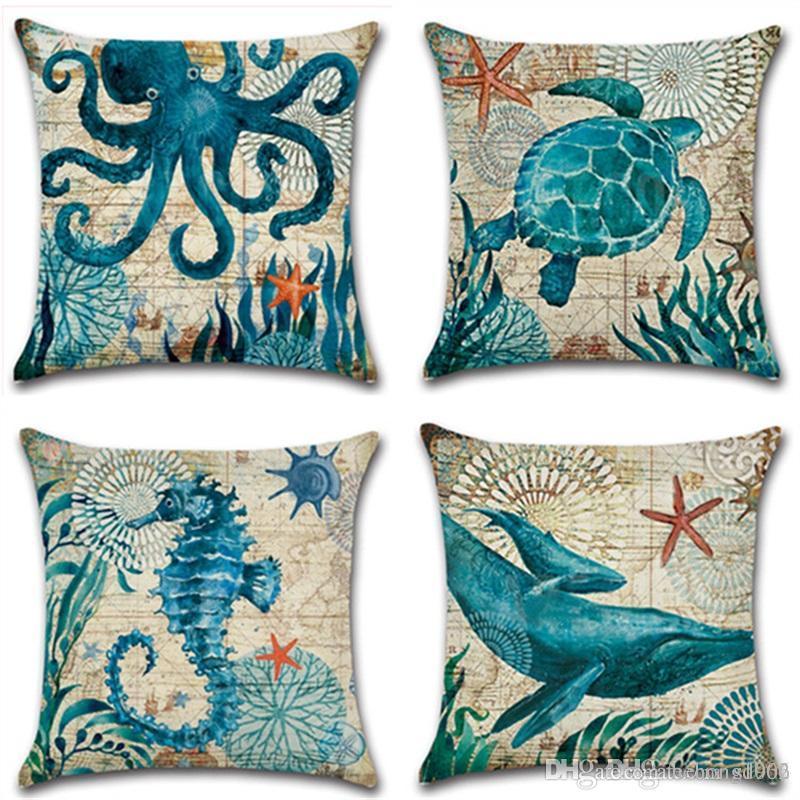 6dfd233d4813cc Tema Organismo Marinho Fronha Dos Desenhos Animados Tartaruga Seahorse  Baleia Capa de Almofada Home Decor Linho Impressão Digital Pillowslip 5 3kh  jj