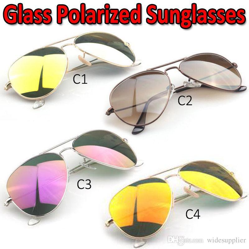 Designer Glas polarisierte Sonnenbrille für Männer Frauen hochwertige neue Dazzle Farbe Glas Spiegel Sonnenbrille mit polarisierten Diamond Lens