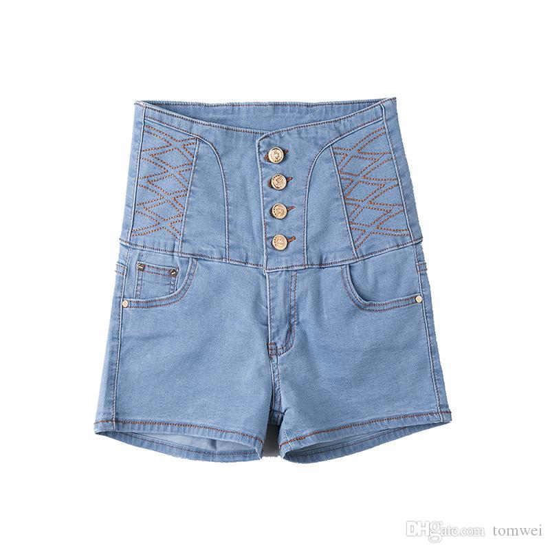 953a39d7e7 2019 Mini Shorts Sexy Jeans Shorts Womens Summer Street Fashion Shorts  Denim Clothing High Waist Front Button 2018 Plus Size 6XL From Tomwei, ...