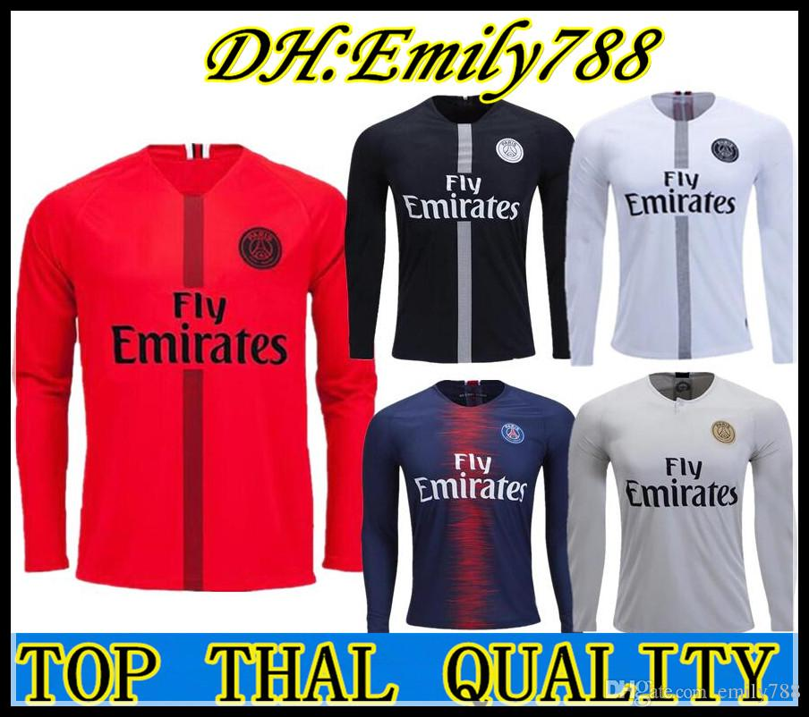 176fac50f 2019 Maillot FULL LONG SLEEVE PSG Soccer Jersey 2019 Paris MBAPPE Saint  Germain Jersey 18 19 Training Goalkee Survetement Football Kit 3rd Shirt  From ...