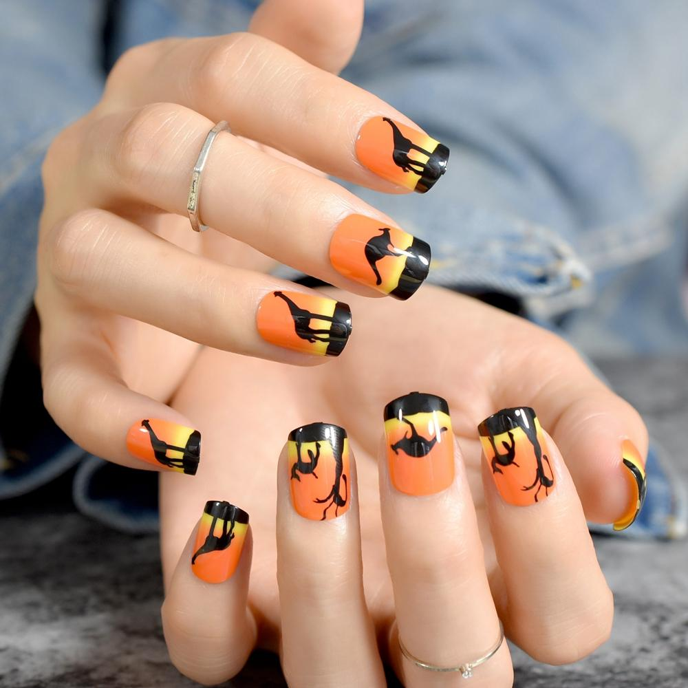 Harajaku Orange Short Nail Art Tips Animals Design Kit Full Cover