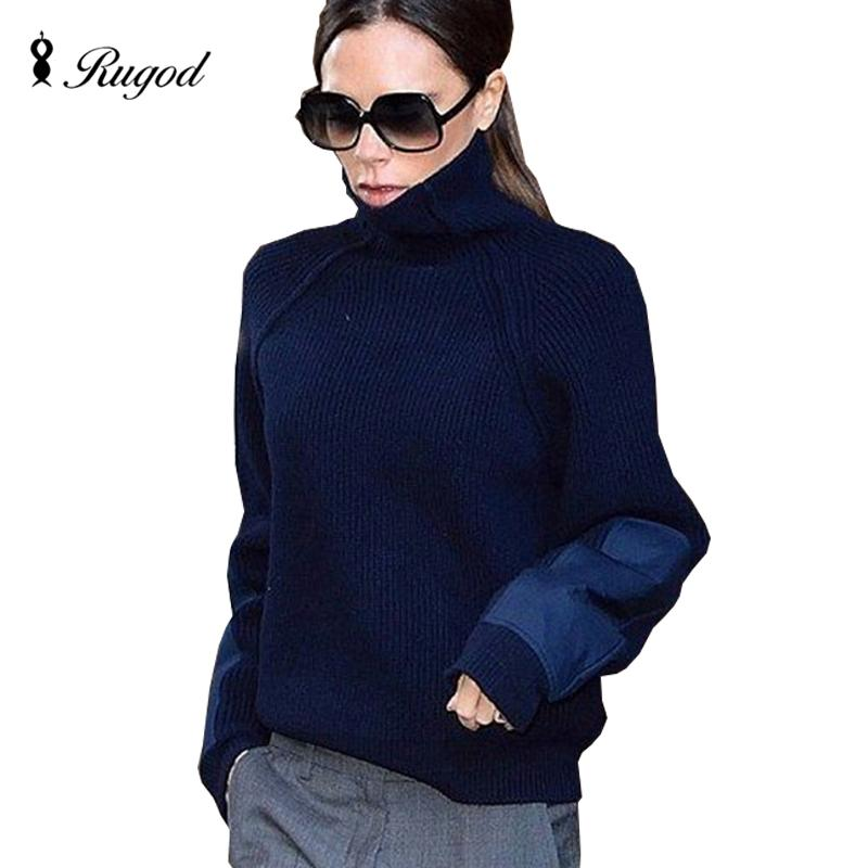 5c6cdc2604b RUGOD 2018 Patch Sleeve Jumper Winter Women Turtleneck Patchwork ...