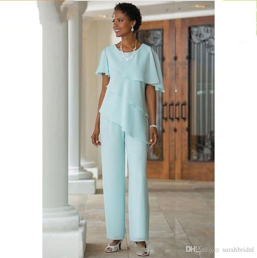 2019 sarahbridal Mother of the Bride Dresses Pants Suits Wedding Guest Dress Silk Chiffon Tiered Mother of Bride Pant Suits Custom Made