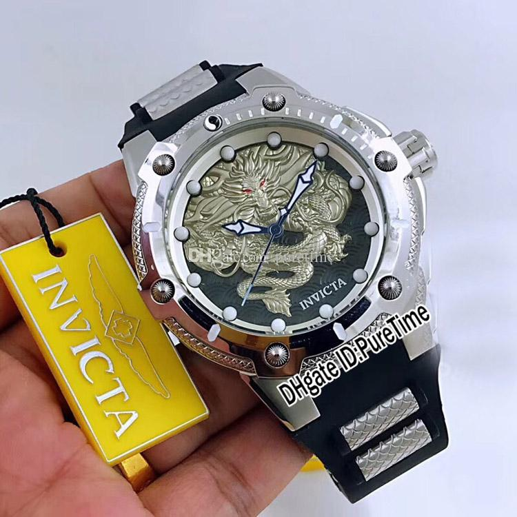 31384c9b94b Invicta S1 Rally Steel Case Black Dial 3D Silver Embossed Dragon Totem  Japan NH35 Automatic Mens Watch Sports Watches Silver Black Rubber 42 Cheap  Branded ...
