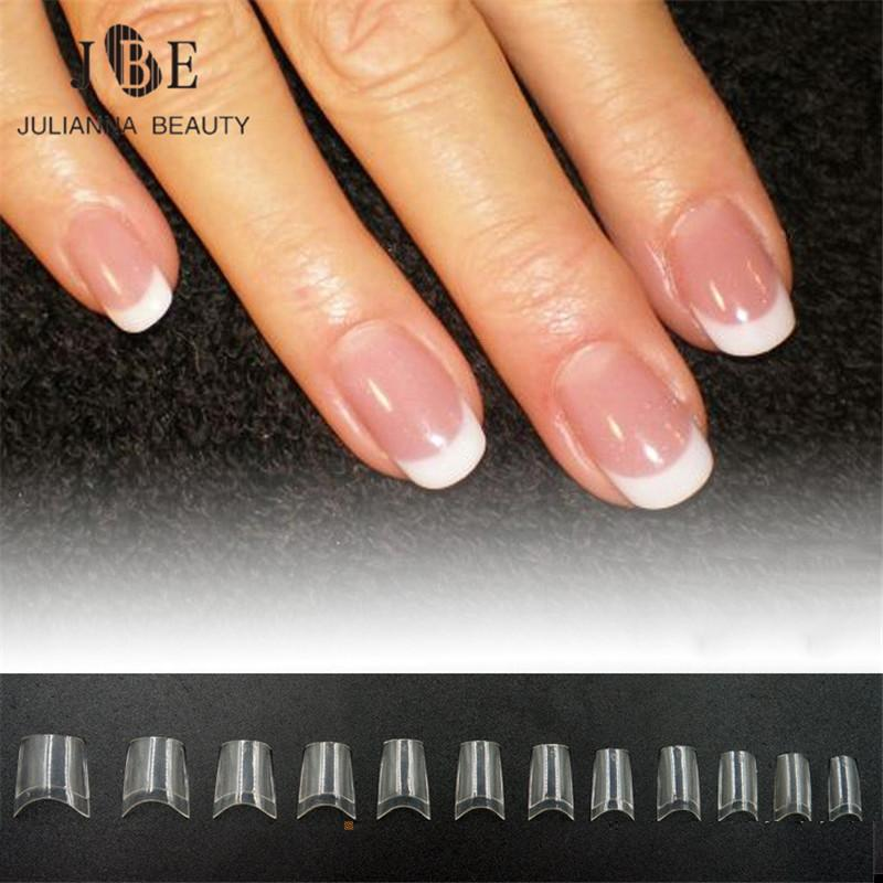 French Short Nail Tip Clear White False Nail Art French Tip ABS ...