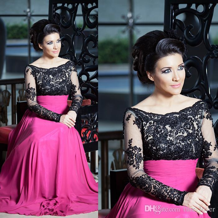 Hot Black Lace Plus Size Prom Gowns Chiffon 2015 A Line Bateau Neck with Beads Middle East Style Sheer Fuchsia Formal evening Dresses
