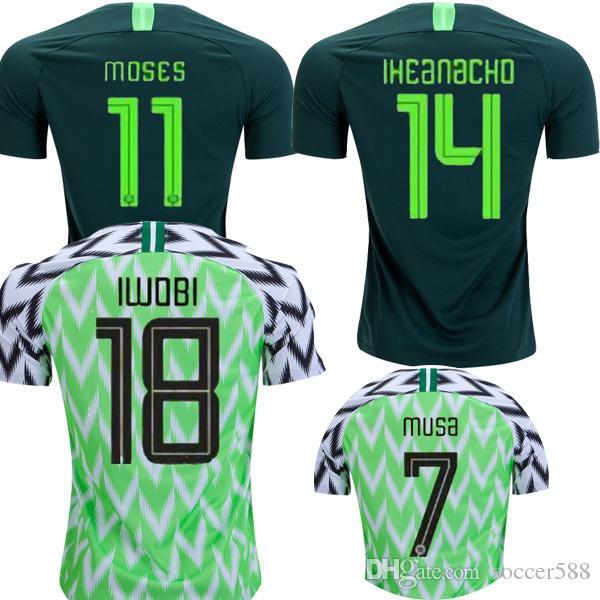2018 Nigeria Camiseta De Fútbol IWOBI Camiseta De Fútbol SHEHU IHEANACHO  Camiseta De Futbol 2018 Copa Del Mundo Nigeriana OBI NDIDI JERSEY Maillot  Por ... cdc6697f3a41a