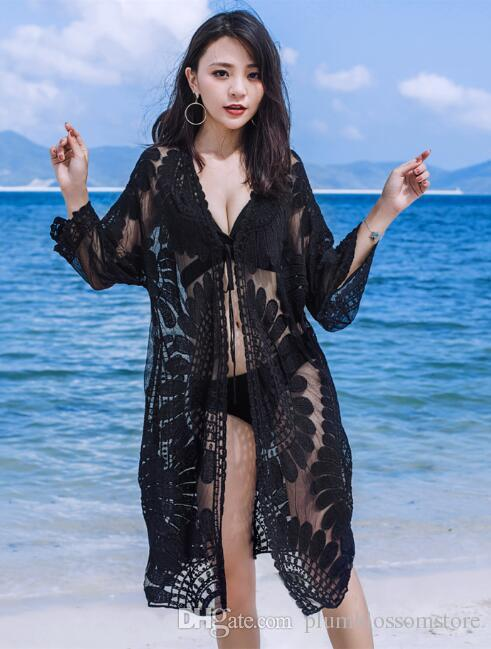 368859a8a0e 2019 Summer Bikini Beach Cover Ups Women Sexy Lace Embroidery Crochet  Hollow Sunscreen Blouse Long Cardigan Swimsuit Shirt Swimwear Beachwear Top  From ...