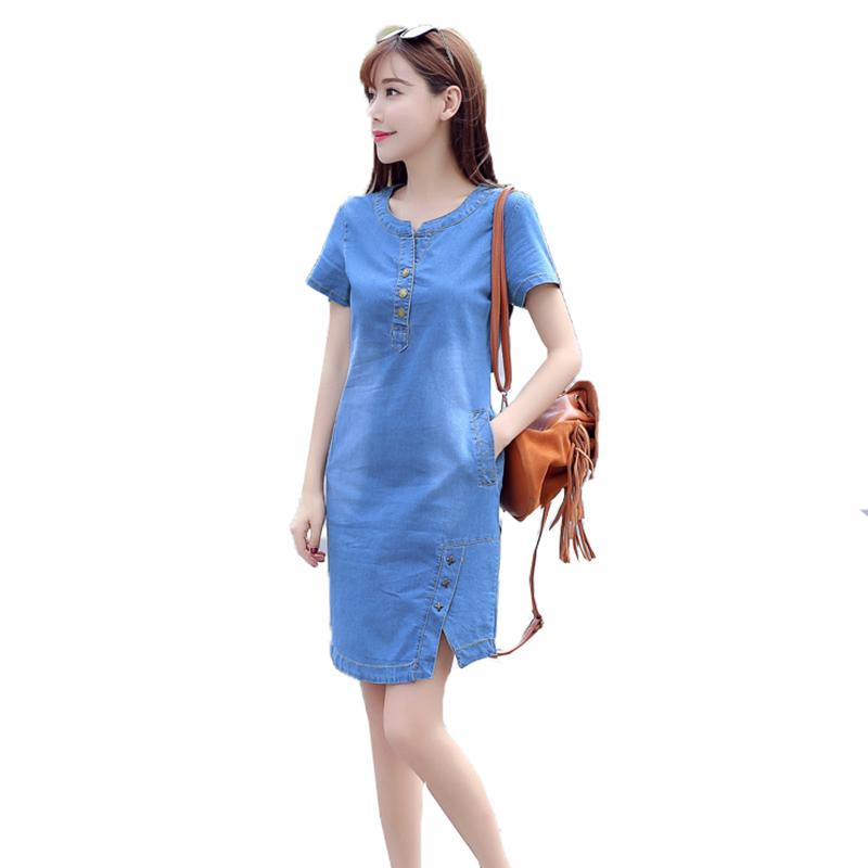352a07b84 Compre 2018 Nuevas Mujeres Vestido De Mezclilla De Manga Corta Estilo  Coreano Feminino Vestido De Verano Casual O Cuello Botón Vestidos Azul  Tamaño Plus A ...