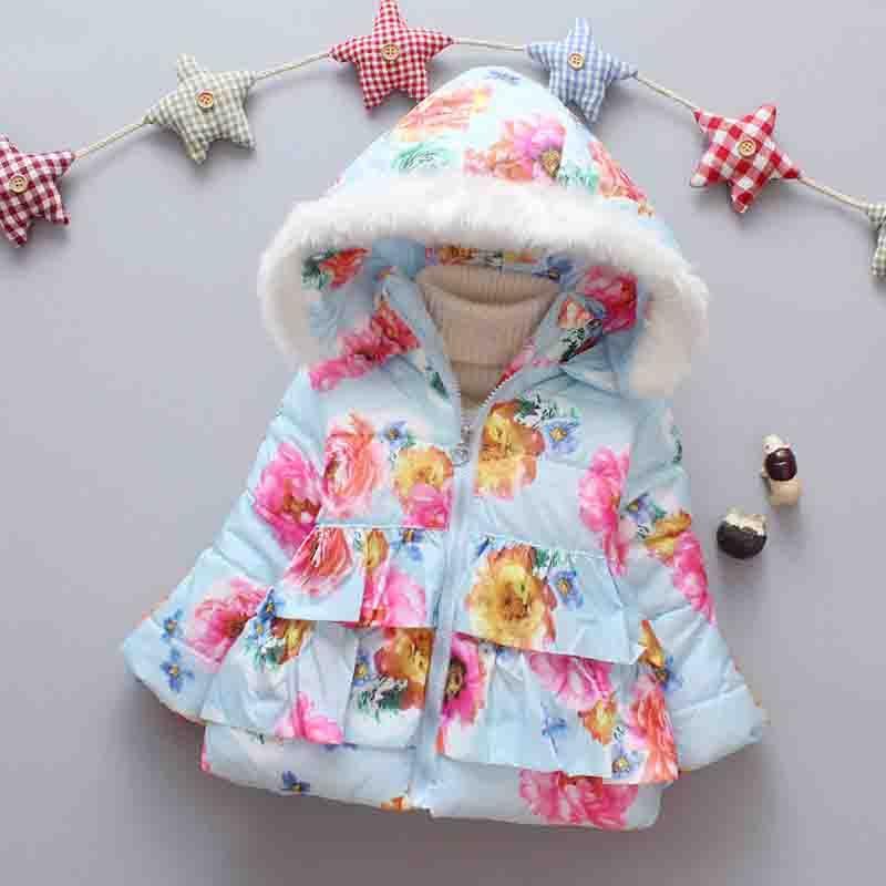 e22204a355f7 BibiCola 2018 Newborn Girl Winter Outerweat Butterfly Print Hooded ...
