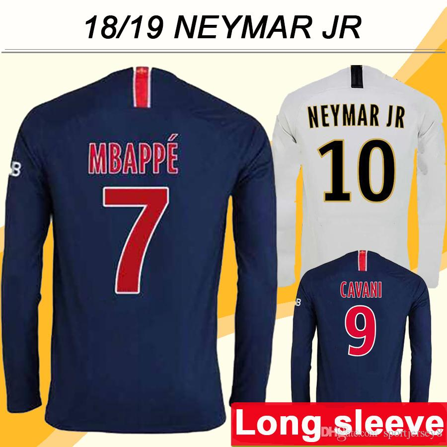 quality design b89bd 921c8 2018 19 NEYMAR JR MBAPPE Long Sleeve Soccer Jerseys CAVANI Home Away Men  Football Shirts Top Quality DI MARIA T.SILVA VERRATTI Uniform