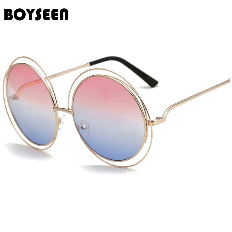 8c3c7c42f Compre BOYSEEN Retro Rodada Tamanho Grande Oversized Lens Espelho Da Marca  Designer De Óculos De Sol Rosa Senhora Legal Retro Mulheres Óculos De Sol  ...