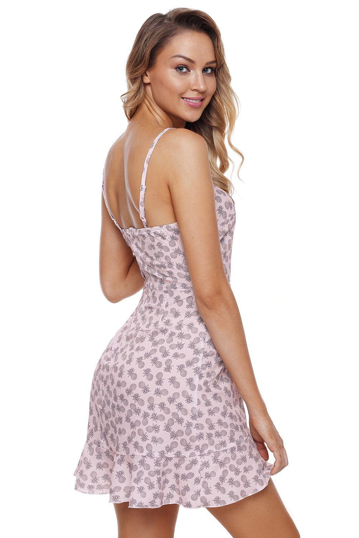 Boho Mini Dresses Summer Women Clothes Floral Print Spaghetti Strap Ruffle Wrap Hemline Black Pink Green New 2018 Beach Sundress Vestidos