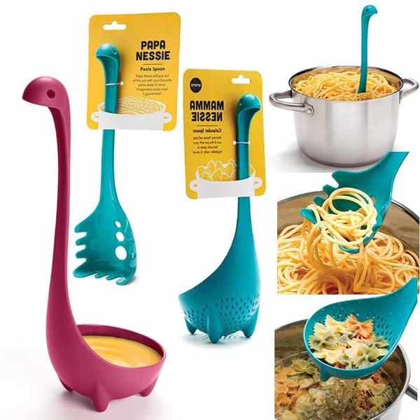 Cute Loch Nessie Monster Stand Soup Spoon Ladle Filter Colander Kitchen Creative Design