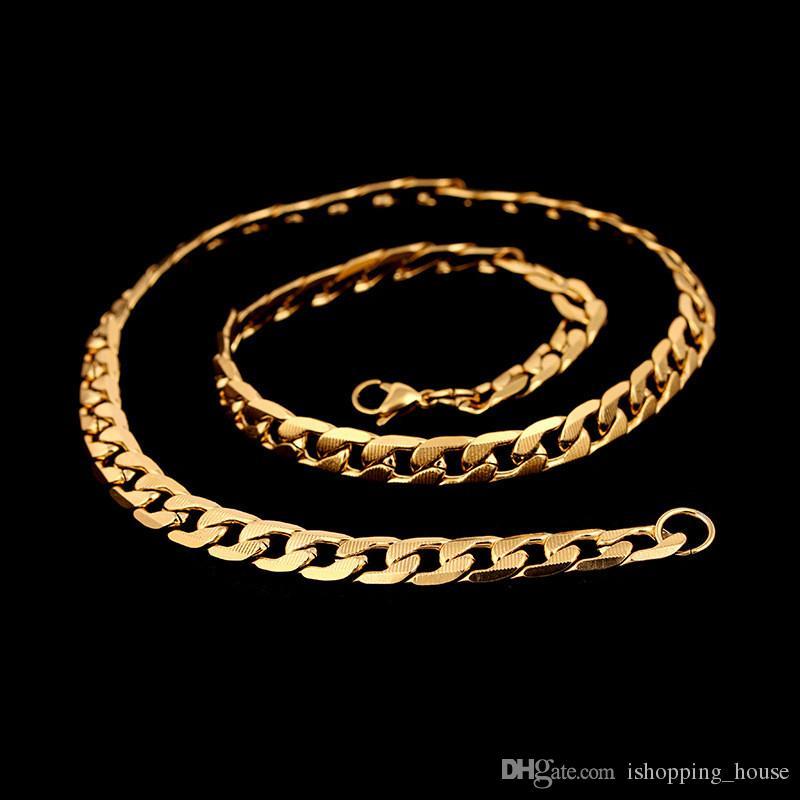 Cor Prata de Ouro de Moda de Nova Mens Aço Inoxidável Correntes Figaro 10mm 61 cm 24 polegadas Figaro Cadeias para Homens Mulheres NL-502