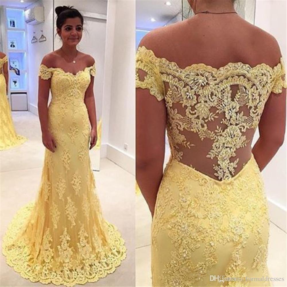 Charming Yellow Full Lace Dresses Evening Formal Wear 2018 Cap Sleeve Hollow Back Long Prom Party Gown Plus Size Mother Of Bride Wear