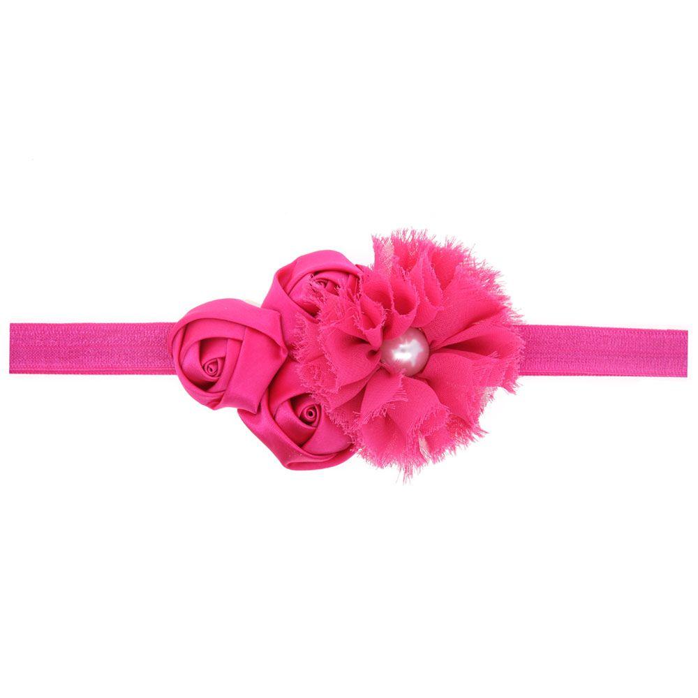 Chiffon pearl flower.rose Head Bands Baby beautiful Flower Elastic Newborn Children's Hair Bands Hair Accessories Headwear H035