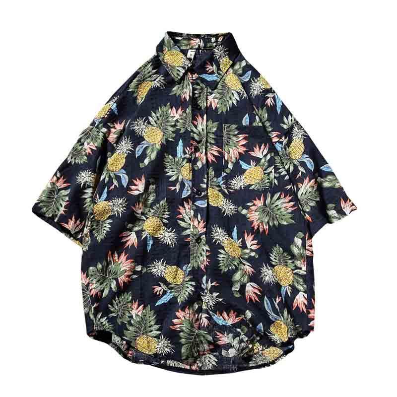 0b9ce5fbfc4 2019 2018 Summer New Hawaiian Shirt Cotton Short Sleeve Men Shirts Loose  Pineapple Print Fashion Half Sleeve Collar Shirts 5xl From Aprili