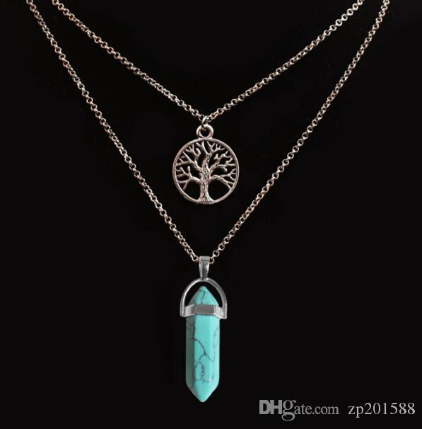 Двойная цепь ожерелье дерево жизни шестиугольная Призма ожерелья драгоценный камень рок природный кристалл кварц исцеление точка чакра камень пуля ожерелье