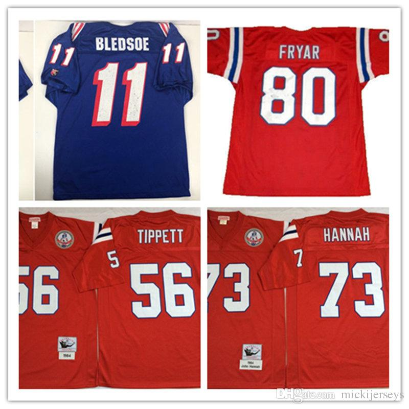 2019 Mens  56 Andre Tippett Vintage Football Jersey Stitched Red  73 John  Hannah  80 IRVING FRYAR  11 Drew Bledsoe Jersey S 3XL From Mickijerseys 755fa97ac