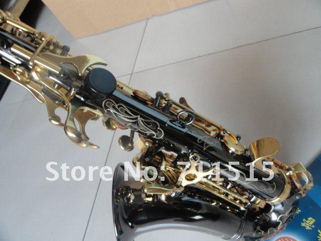 Spedizione gratuita Xinghai piccolo curvo collo B Sassofono soprano B nero piatto nichel oro placcato oro lacca chiavi intagliato a mano con bocchino