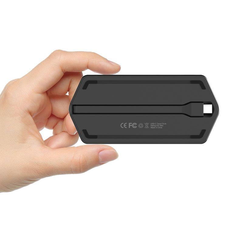 Thunderbolt 3 USB C Hub to HDMI VGA Adapter USB Type-c Hub Dock USB 3.0 Hub with 3.5MM Socket LED Light for MacBook Pro