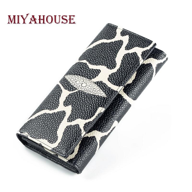 Miyahouse Genuine Leather Lady Clutch Wallet Black And White Embossed Long Wallet For Women Card Holder Purses Zipper Coin Purse