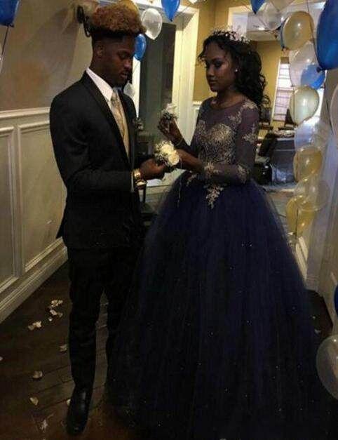 Fashion Royal Blue Sheer Applique Promkleider Illusion langen Hülsen-Partei-Abend-Kleid-Abschlussball-Kleider Robe De Soiree