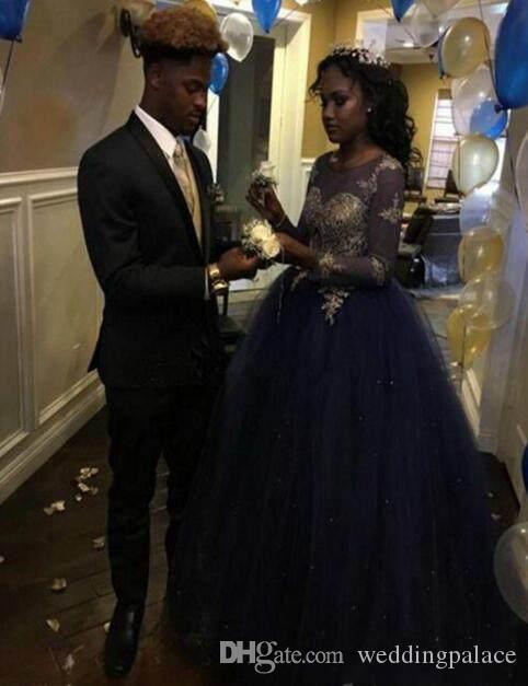 Moda azul real Sheer Applique vestidos de baile Ilusión Partido de manga larga vestidos de noche Vestidos de baile del traje de soirée