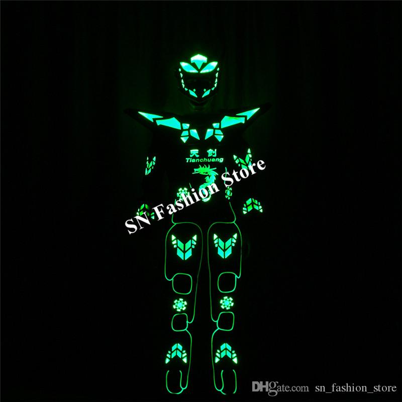TC-183 Programming led costumes ballroom dance robot costumes robot mens suit stage RGB full color light dj clothes show wears performance