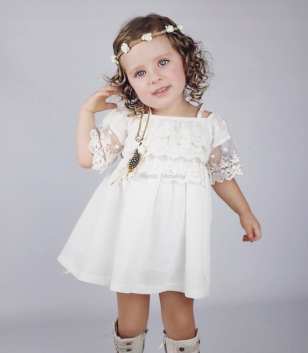Baby Mädchen Spitze trägerloses Kleid Kinder Hosenträger Prinzessin Kleider 2018 neue Sommer Pageant Urlaub Kinder Boutique Kleidung C3516