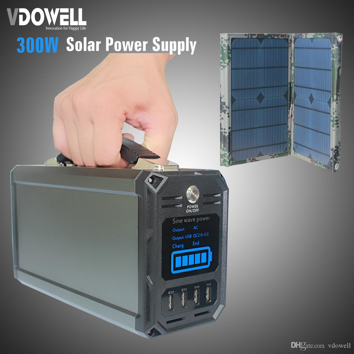 300wh 60000mah Solar Backup Power Source Battery Bank With 40w Controlling 110vac 5vdc Panel Output Ac 110v 220v Dc Usb Qc30 5v 2a For Outage Outdoors Multiple