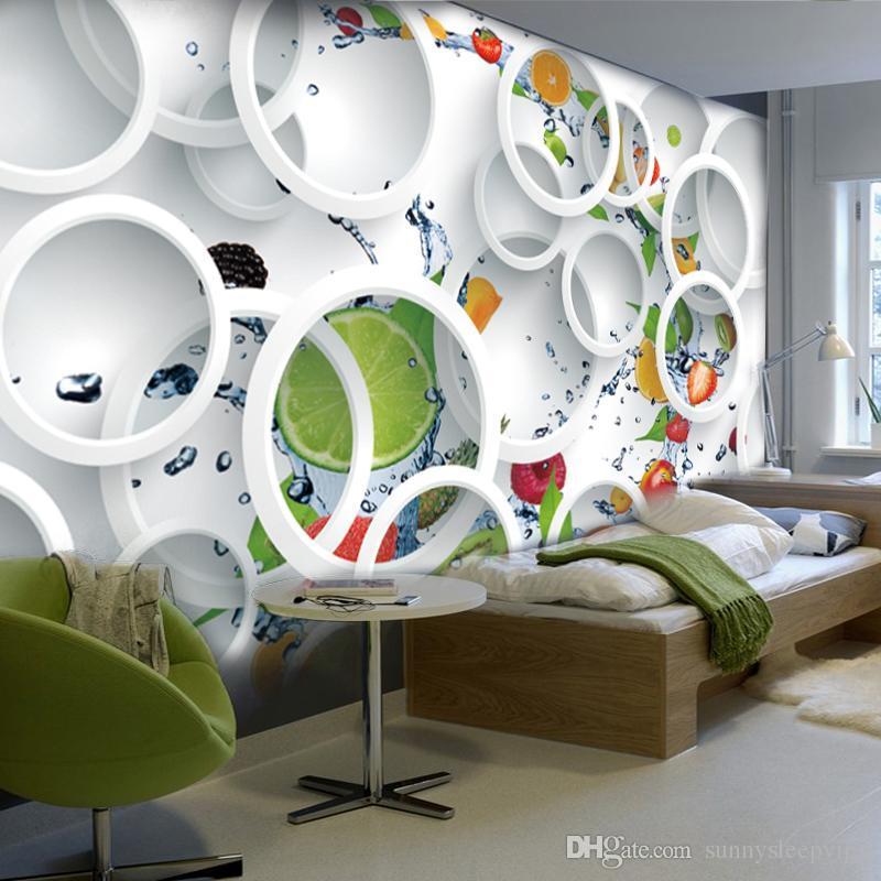Custom Modern Minimalist Mural Photo Wallpaper White Ring Cycle ...