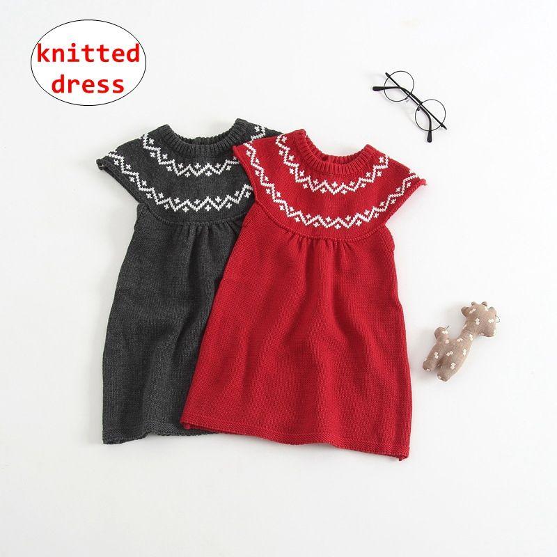cff2cea52 2019 Girl Christmas Knitted Dress INS Baby Sleeveless Vest Dress ...