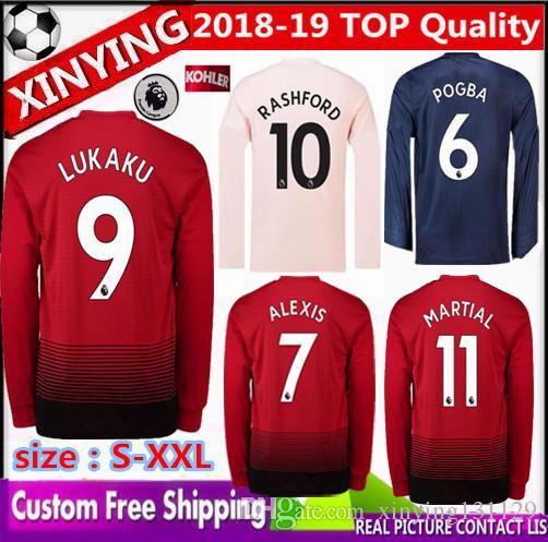 f1ee38371 Großhandel 18 19 Langarm Manchester United Fußball Trikot 2018 2019 Pogba  Alexis Lukaku Rashford Lingard Fred Matic Lindelof Martial Fußball Shirt  Von ...