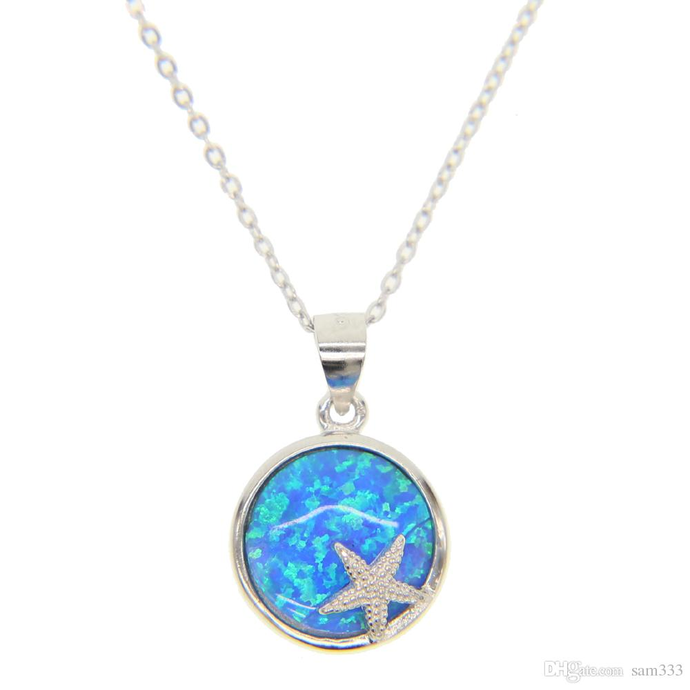 Wholesale 925 sterling silver round blue fire opal pendants wholesale 925 sterling silver round blue fire opal pendants necklaces cubic zirconia ocean sea star bead necklace cute fashion gifts 2018 rose pendant aloadofball Image collections