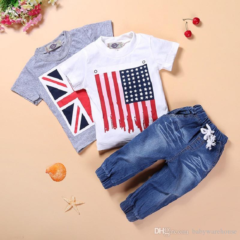 Boys' Clothing Boy Clothes Suit Summer Short-sleeve Denim Shirt+striped Beach Shorts Pants 2pcs Childrens Clothing Set Fashion Toddlers Wear Clothing Sets