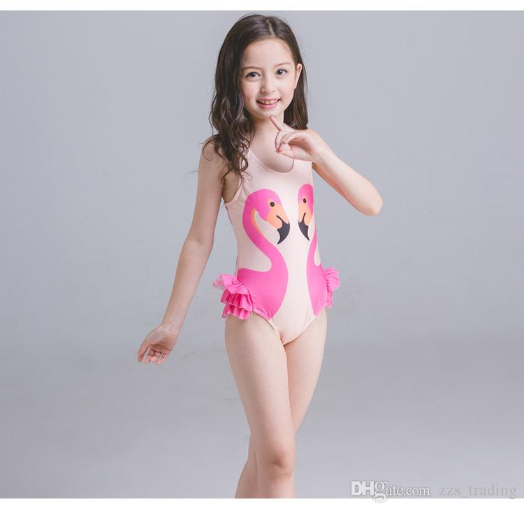 2018 New Girls Bikinis Summer Toddler Kids Girls Swimsuit Swimwear Bathing Suit Onepiece Cute Lovely Cartoon Swan Bikini+Swimming Cap