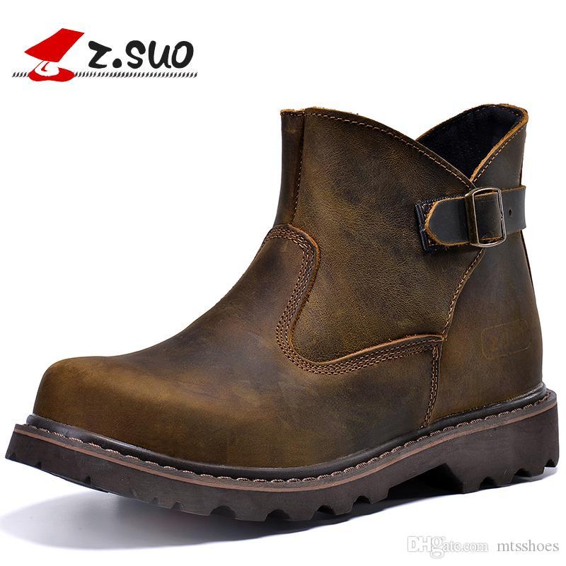 ae9a33b6010 Compre Los Hombres De Moda Brown Cuero Genuino Botas De Motociclista Botas  De Herramientas De Cuero De Caballo Loco Al Aire Libre Zapatos De Trabajo A  ...